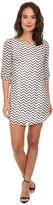 Gabriella Rocha Chevron Chiffon 3/4 Sleeve Shift Dress