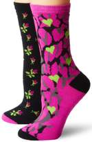 Betsey Johnson Women's Two-Pair Pack Classic Crew Socks In Gift Box