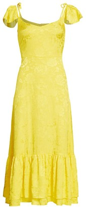 STAUD Marwa Flutter-Sleeve Midi Dress