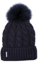 Soia & Kyo Women's Cable Knit Beanie With Removable Feather Pompom - Blue