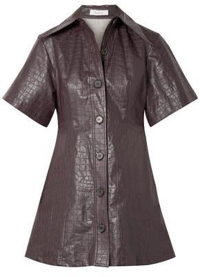 Beaufille Piper Croc-effect Coated-linen Mini Shirt Dress