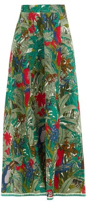 Le Sirenuse, Positano - Camille Ranthambore Tiger-print Cotton Maxi Skirt - Green Print