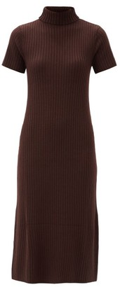 STAUD Lilou Roll-neck Ribbed Wool-blend Sweater Dress - Brown