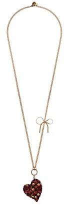 Betsey Johnson Resin Heart Long Pendant Necklace (Leopard) Necklace