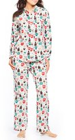 Sleep Sense Petite Coffee-Printed Flannel Pajamas