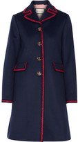 Gucci Embroidered Wool Coat - Navy