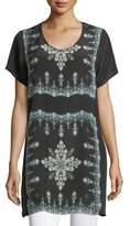 Tolani Tiniya Long Silk Tunic, Plus Size