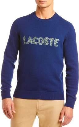 Lacoste Croc Applique Logo Wool Blend Crewneck Sweater
