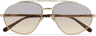 Brioni Aviator-Style Gold-Tone Sunglasses