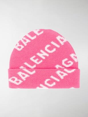 Balenciaga All Over Logo Beanie