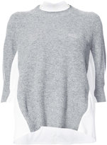 Sacai shirt insert sweater - women - Cotton/Nylon/Polyester/Wool - 2