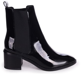 Linzi KAY - Black Patent Pull On Chelsea Boot With Stacked Block Heel