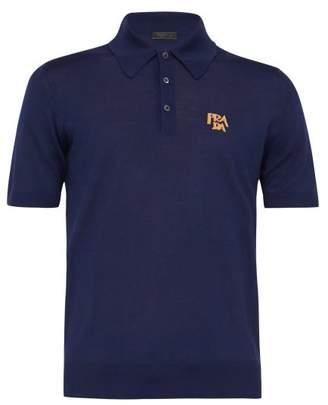 Prada Logo-jacquard Wool-blend Polo Shirt - Mens - Dark Blue
