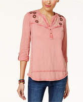 Style and Co Embroidered Cotton Utility Top, Created for Macy's