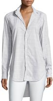 Frank And Eileen Grayson Grid-Print Italian Chambray Shirt, Gray