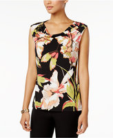 Nine West Floral-Print Cowl-Neck Shell