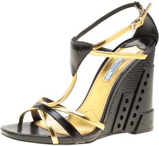 Prada Black/Gold Leather Retro Futuristic Ankle Strap Geometric Wedge Sandals Size 40