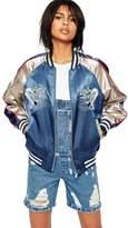 SZIVYSHI Women's Embroidered Casual Baseball Jacket