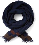 Frank & Oak Colour Block Wool Blanket Scarf in Navy