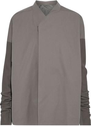 Rick Owens Crepe, Coated Denim And Cotton-blend Faille Jacket