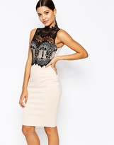 Lipsy Michelle Keegan Loves 2 In 1 Scallop Lace Top pencil Dress