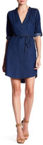 Angie Denim Surplice Neck Shirt Dress
