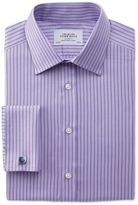 Charles Tyrwhitt Classic Fit Egyptian Cotton Textured Stripe Lilac Dress Casual Shirt French Cuff Size 15/35