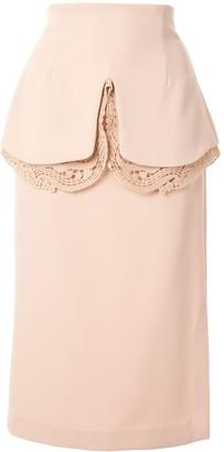 Mame Kurogouchi Layered Style Lace Detail Skirt