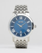 HUGO BOSS BOSS By Gentleman Blue Dial Stainless Steel Watch In Silver