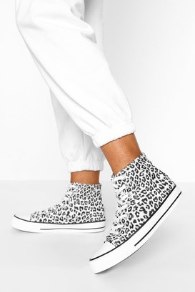 boohoo Leopard Print High Top Canvas Trainers