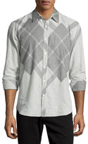 Billy Reid Argyle-Print Long-Sleeve Sport Shirt, Black/Gray