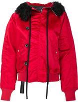 Unravel Project - fur hood bomber jacket - women - Cotton/Polyamide/Polyester/Alpaca - 40