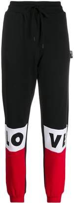 Love Moschino color-block logo track pants