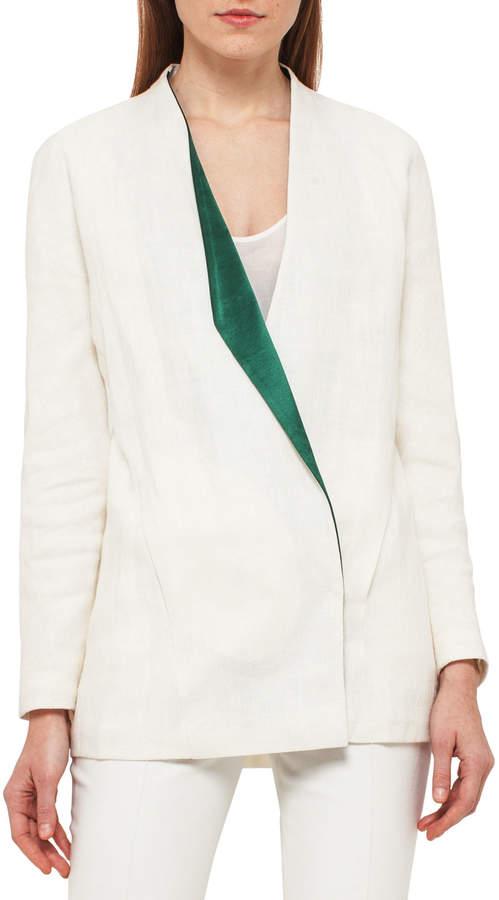Akris Linen Jacket w/Satin Lapel, White/Green