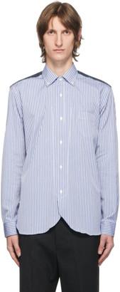 Junya Watanabe Blue and White Stripe and Check Shirt