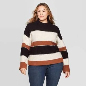 Universal Thread Women's Plus Size Striped Long Sleeve Mock Turtleneck Pullover Sweater - Universal ThreadTM