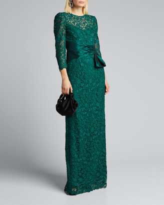 Rickie Freeman For Teri Jon 3/4-Sleeve Lace Column Gown w/ Side-Bow Detail