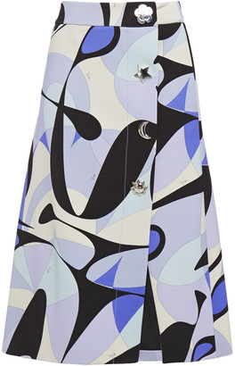 Emilio Pucci Printed Stretch-crepe Wrap Skirt