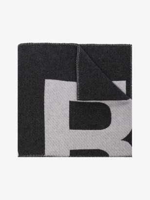 Isabel Marant grey Loli logo knit wool scarf
