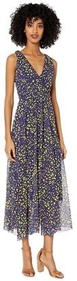 Fuzzi Sleeveless V-Neck Poppy Print Dress (Blueberry) Women's Dress