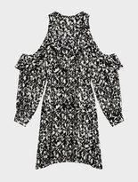 DKNY Cold Shoulder Floral Ruffle Dress