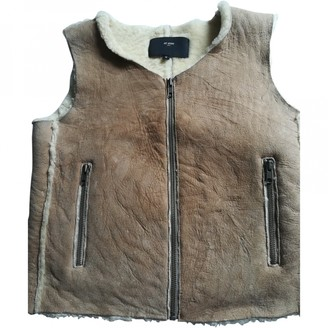 Et Vous Beige Suede Leather Jacket for Women