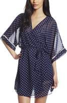Cinema Etoile Women's Kate Polka Dot Molded Cup Babydoll Kimono Wrap Robe Set