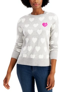 Charter Club Sequin-Heart Sweater, Created for Macy's