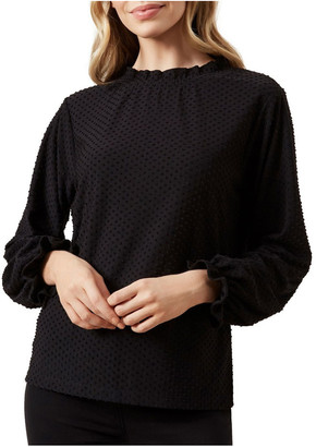French Connection Dobby Frill Neck Top