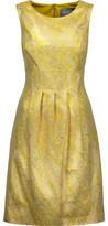 Lela Rose Pleated Metallic Cloqué Dress