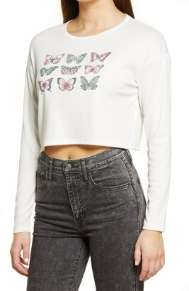 ALL IN FAVOR Butterfly Long Sleeve Graphic Tee