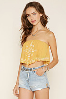 Forever 21 FOREVER 21+ Embroidered Crop Top