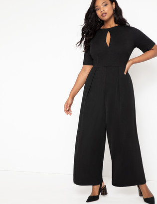 ELOQUII Pleated Jumpsuit with Keyhole