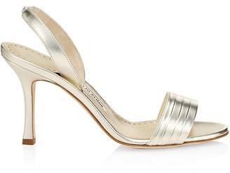 Manolo Blahnik Vergasli Metallic Leather Slingback Sandals